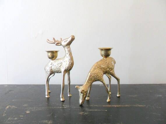 midcentury brass deer figurines and candle holders - woodland - fawn - forest - christmas