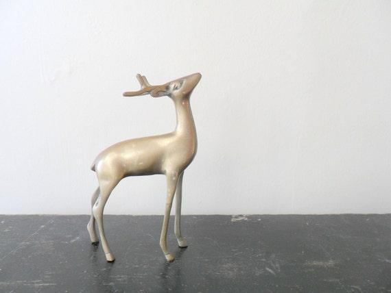 midcentury brass deer figurine - patina - buck - forest - woodland - christmas
