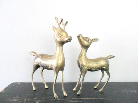 mid-century gold toned woodland chic brass deer figurines - animal - christmas