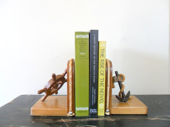 boat themed wooden nautical bookends - anchor - ocean - fathers day gift idea