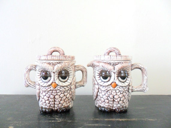 reserved for sarah - woodland chic handmade sleepy eyed owl sugar and creamer set - ceramic - bird