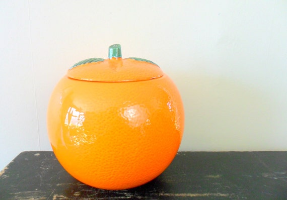 large orange fruit ceramic cookie jar - retro kitchen - sunshine state - citrus