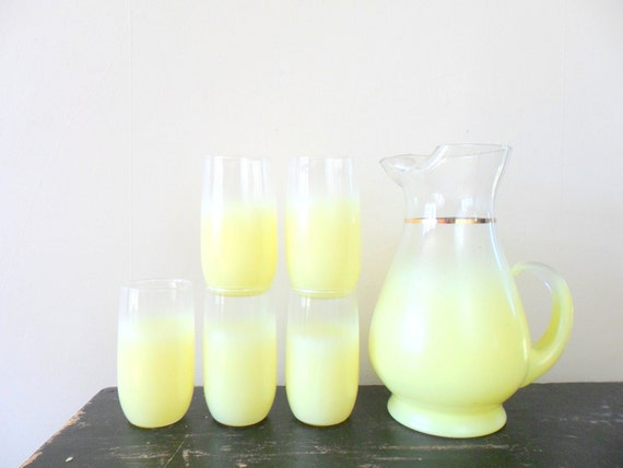 reserved for hillary yellow west virginia glass blendo cocktail set - lemonade - summer - ombre