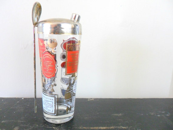 the whiskey lovers cocktail recipe shaker - red and gold - midcentury - mad men