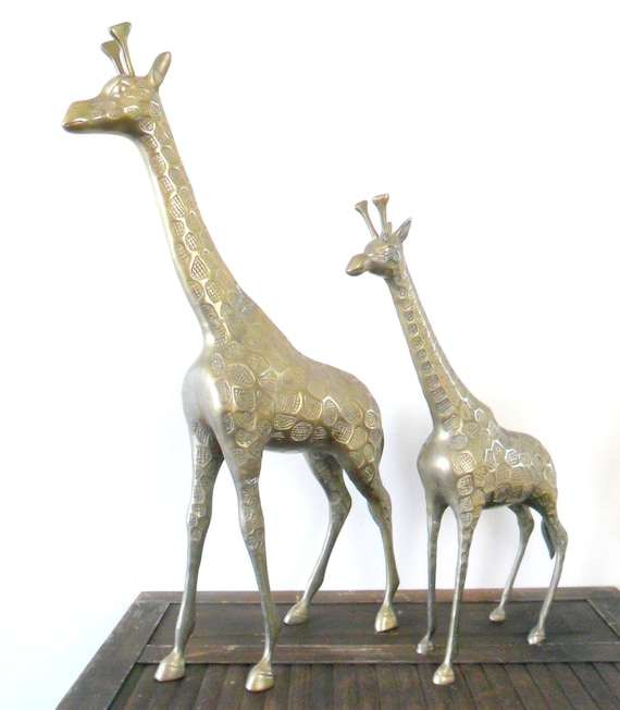 set of two extra large brass giraffe figurines - patina - animal - african