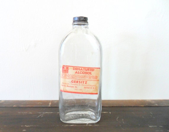 alcohol bottle - hardware - antique glass - apothecary