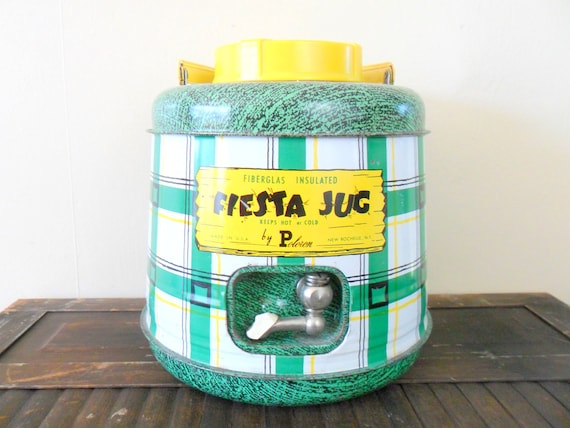 mid-century green and yellow fiesta jug insulated camping thermos - 1950s - fathers day