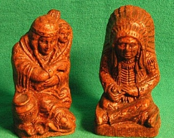 1949 Grand Canyon Indian and Squaw w/Papoose Salt-Pepper Shaker Set-RAREST