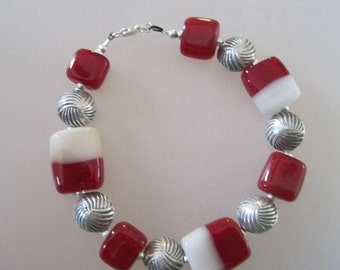 SALE - Bracelet CANDY TABS 7 Handmade Lampwork Glass Beads and Sterling Silver - Inv450
