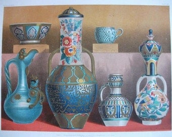 Antique Chromolithograph of  Coloured Earthenware
