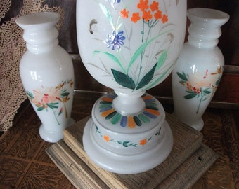 ANTIQUE........Trio  Bristol Glass Vases