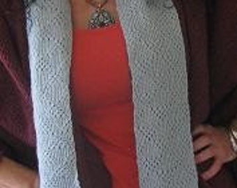 Knitted Grey Scarf, exta long, Tuck Stitch