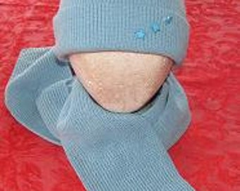 Hat and Scarf Set Light Blue Oxford Blue ON SALE Warm Winter Hat Holidays