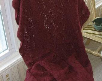 Lightweight Knitted Burgandy Afghan, Blanket, Throw