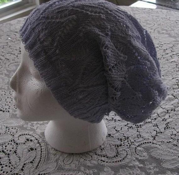 Slouchy Beanie Dreads Hat  Lavender Cotton  Lace