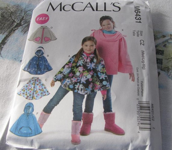 Poncho Childs Sewing Pattern McCalls 6431 New 50% off