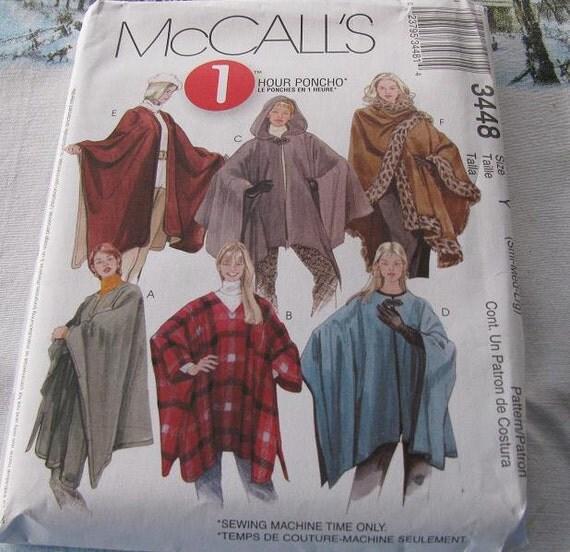 Misses Ponchos  Misses size Y  (sm to lrg) McCALLS Pattern M3448