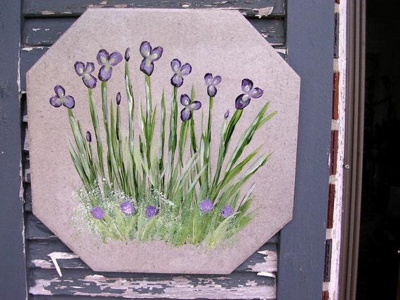Tile garden art, ceramic trivet, kitchen hotplate, outdoor art, wall art, garden decor, wall art hand painted iris