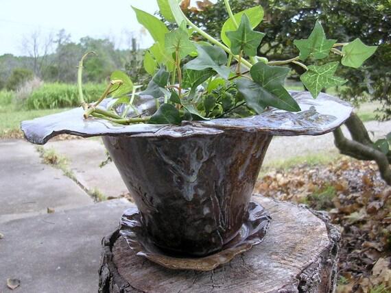 Flower pot planter hand built stoneware with saucer