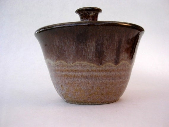 Salt cellar sugar bowl jar with lid rosy tan glaze