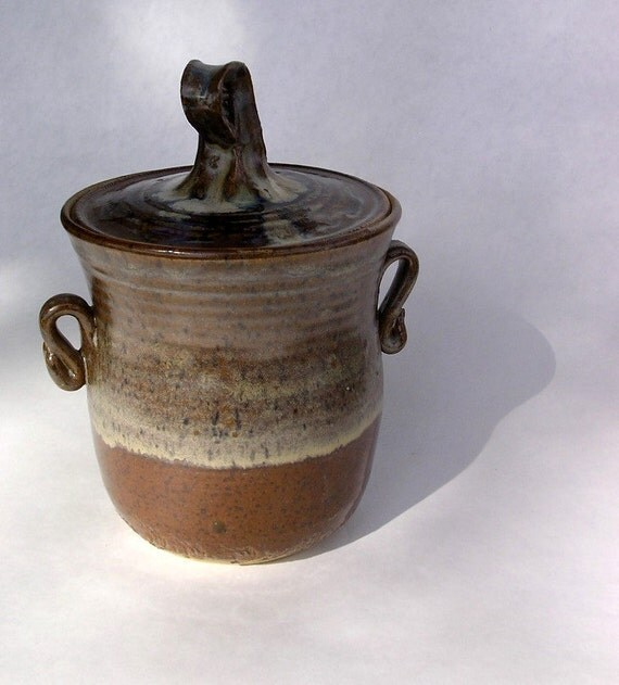 Kitchen canister storage jar with lid earthy brown glaze