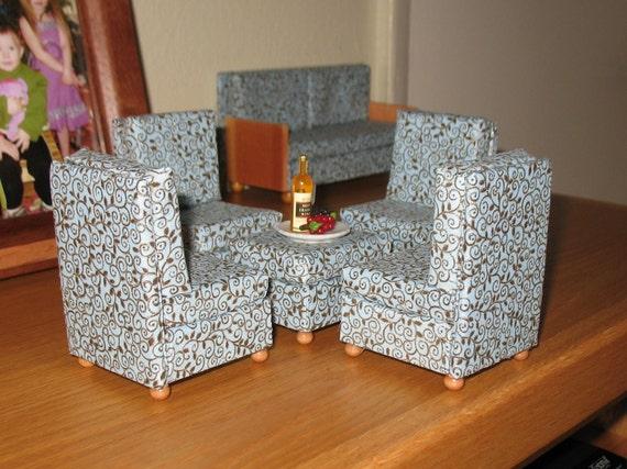 1:12 Dollhouse Miniature Sofa, 4 chairs & Ottoman