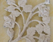 Salvaged Iron Shabby Architectural Piece, Square, Cream White Roses