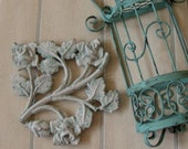 Salvaged Architectural Iron Piece for Wall Decor, Paper Weight, Blue Chippy Roses
