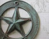 Texas 5 Point Raised Star, Decorative Rustic Wall Decor, Blue Hue, Cast Iron