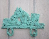 Horse Hooks Cast Iron Cowboy Hat and Boots, Turquoise Blue Green Western Delight....TREASURY LISTINGS