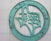 Cast Iron TEXAS Metal Seal Turquoise Blue Green Rustic Wall Hanging