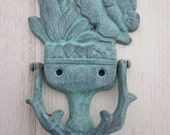 Rustic Cast Iron Door Knocker Shabby, Paper Weight, Blue Green Hue Butterfly, TREASURY LISTING