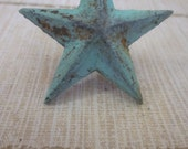 Set of Two Salvaged Shabby Cast Iron RUSTIC Star Nails, Blue Green Hue,  TREASURY LISTINGS