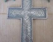 Salvaged Silver Metal Cross, Blue Hue Shabby Art Deco Design