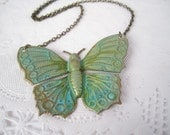 Verdigris Butterfly Necklace