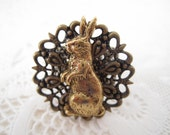 Jack Rabbit Filigree Ring in Antique Brass