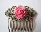 Pink Rose Hair Comb Antique Brass Filigree Hair Comb Flower Hair Comb Vintage Style Gift Under 15 Christmas Sale Free Shipping Jewelry