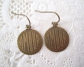 French Earrings Amour Love Earrings Antique Brass Earrings Paris France Charm Earrings Vintage Style Shabby Chic Free Shipping Sale
