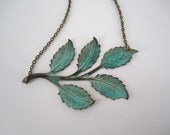Patina Green Leaf Necklace Aged Verdigris Antique Brass Branch Necklace Patina Jewelry Vintage Style Jewelry Under 30 Free Shipping Sale