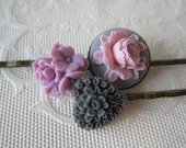 Lilac Flower Bobby Pins Purple Peony Floral Brass Bobby Pins Monochromatic Bobby Pins Gift For Her Vintage Style Hair Accessories