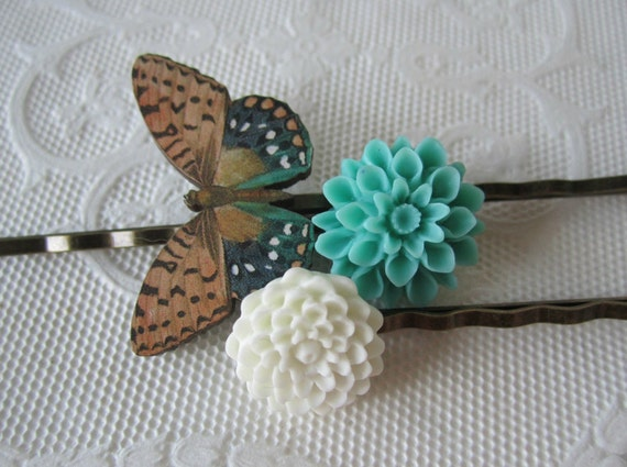 Wooden Butterfly Bobby PIns Tan Blue White Flower Bobby Pins Antique Brass Hair Pins Gift Under 15 Christmas Sale Free Shipping