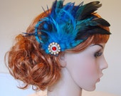 Pirate Queen, Turquoise Feather Fascinator Hair Comb, One of a Kind