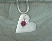 Silver Heart and Garnet Swarovski Necklace
