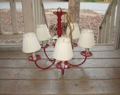 Red Painted Metal Electric 5 Light Chandelier with Cream Shades-Works Perfectly