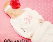 Layette Gown Monogrammed with Two-Toned Pink Stitching. The Chloe Hot Pink Flower Headband Included