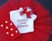 Fancy Santa's Little Princess Tutu Set. Great for Photo Shoots for Christmas/Holiday Cards.