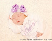 Personalized Monogrammed Lavender Baby Girl Homecoming Layette Gown with Infant Hat. Infant Hat with Lavender Bow