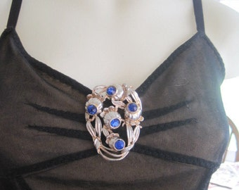 Vintage Large Cobalt Blue Rhinestone Poppy Flower Leaves Dress Clip