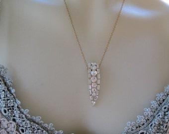 Vintage Art Deco Rhinestone Paste Dress Clip Pendant Hair Clip Bride Bridal Wedding