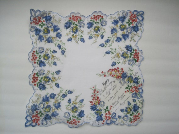 Vintage HAPPY BIRTHDAY POEM Hankie Cotton Print New Old Stock Roses Blue Red White Yellow Bows and Lace